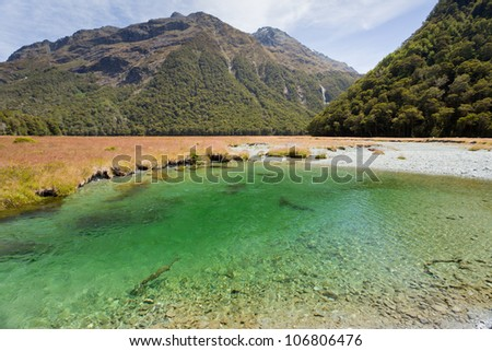Small green river in glacial valley of Humboldt Mountains vista from Routeburn Track hiking trail, Southern Alps, New Zealand - stock photo