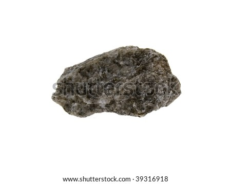 Small grey granite stone isolated on a white background