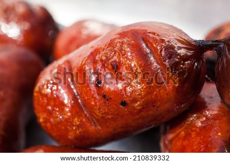 Small grilled sausage closeup on blured background - stock photo
