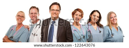 Small Group of Doctors or Nurses and Businessman Isolated on a White Background. - stock photo