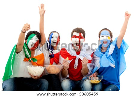 Small group of happy international football fans isolated over white