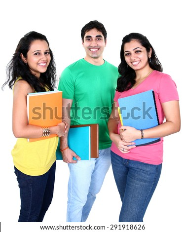 Small group of Indian students with books in hand, isolated on white background.