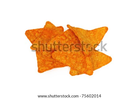Small Group of Nacho Cheese Chips Isolated on a White Background - stock photo