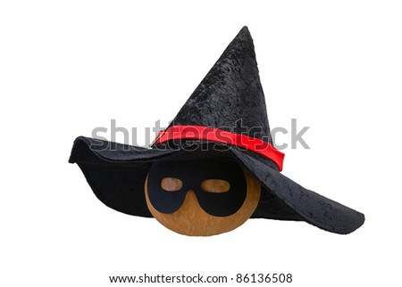 Small Halloween orange pumpkin in black witch hat and  masquerade mask isolated on white background - stock photo