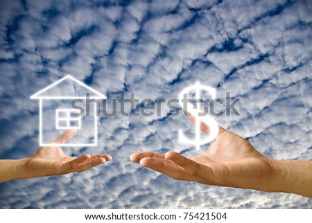 Small hand exchange the house with money from big hand - stock photo