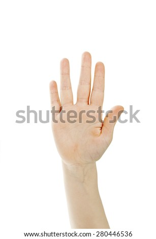 Small hand simulating showing number five sign. Isolated on white background