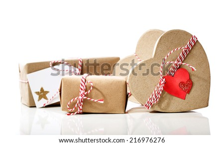 Small Handmade gift boxes isolated on white background - stock photo