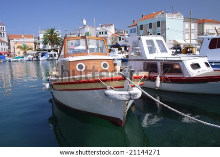 small harbor with boats in Vodice, Croatia - stock photo