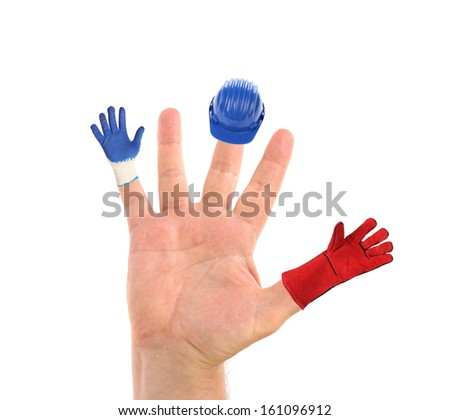 Small hard hat and gloves hanging from the fingers. Isolated on a white background - stock photo