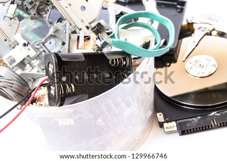 Small heap of mixed electronic waste. - stock photo