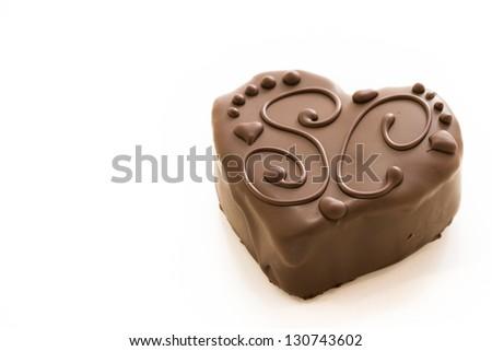 Small heart shaped salted caramel heavenly heart cakes. - stock photo