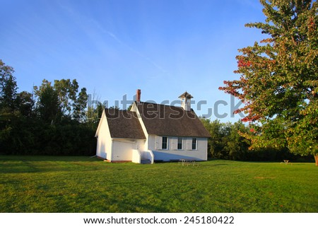Small historic church in the state of Michigan - stock photo
