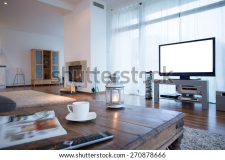 Small home movie theater in big lounge - stock photo