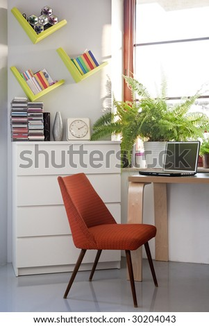 small home office with computer - stock photo