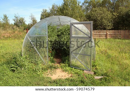 small hothouse amongst green herb - stock photo