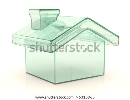 Small house from glass. 3D model isolated on white - stock photo