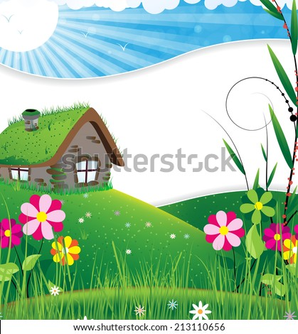 Small house in a meadow with wild flowers - stock photo