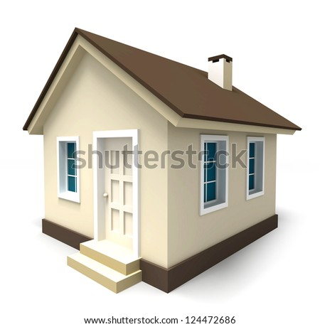 small house in brown colours on white background. clipping path included - stock photo