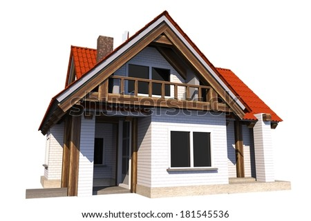 Small House Isolated on White Background. Single Family Home 3D Illustration. - stock photo