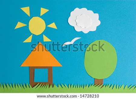 Small house on a grass - stock photo