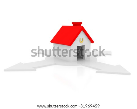 Small house on a white background