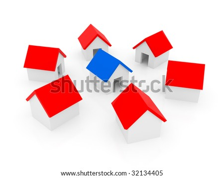 Small house on a white background - stock photo