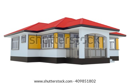 Small house on a white background. 3d rendered image - stock photo