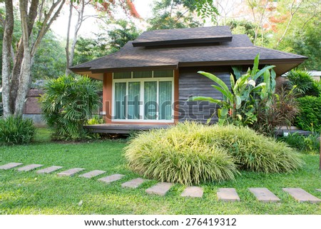 small house with a garden  - stock photo