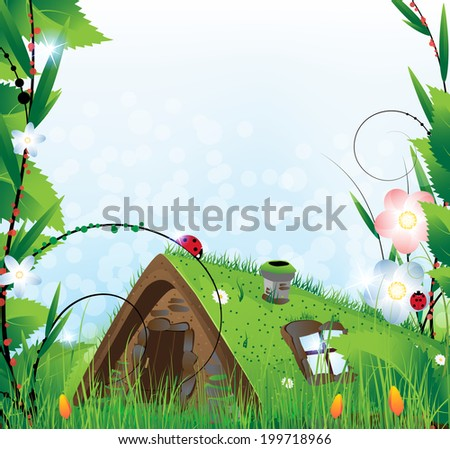 Small  house with a sod roof on a meadow with blooming tulips - stock photo