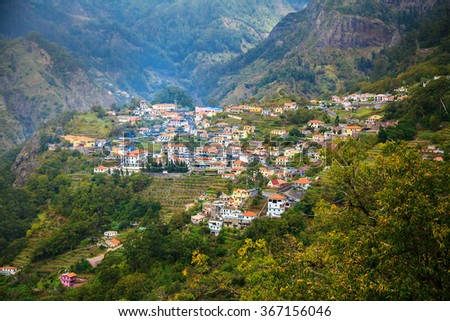 small houses at the village Curral das Freiras in Madeira, Portugal - stock photo