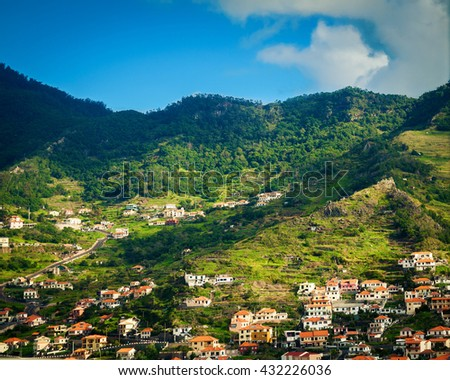 small houses in the Funchal's suburb, Madeira island, Portugal - stock photo