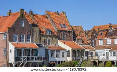 Small houses in the historic center of Enkhuizen, Netherlands - stock photo