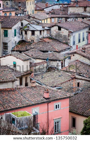 Small housing in Barga, Italy - stock photo