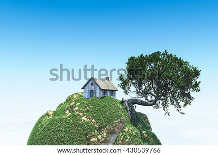 small hut on the little planet 3d rendering