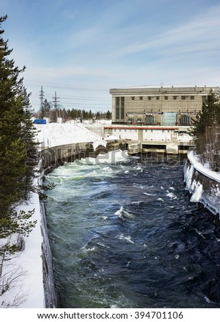 Small hydroelectric power plant in the north of Russia, operating since the 50s - stock photo