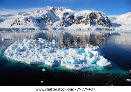 small iceberg in the ocean in antarctica - stock photo