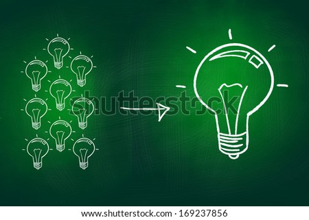 Small Ideas Create Big Idea Concept, drawn with Chalk on Blackboard - stock photo