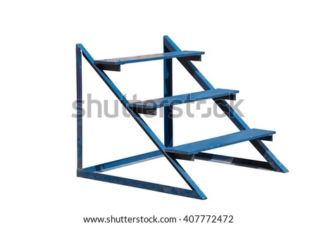 Small iron and wooden blue ladder isolated on white background - stock photo