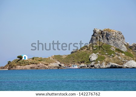 small island Kastri near Kos, Greece - stock photo