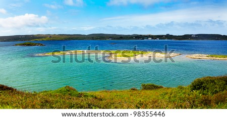 Small islands at Clifden Bay in summer, Conemara, Ireland.