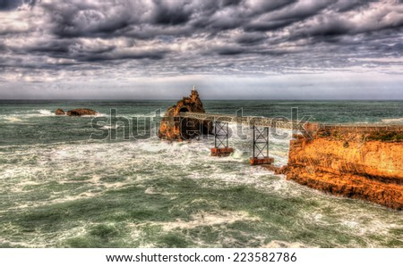 Small islands in the Atlantic Ocean near Biarritz, France - stock photo