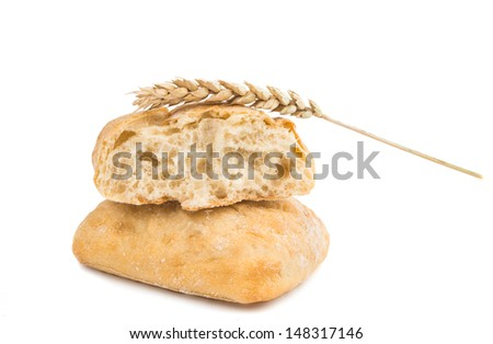 small Italian bread on a white background