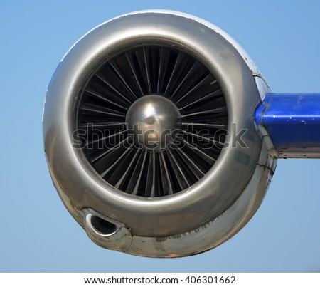 Small jet engine close up, front view