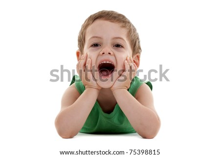 small kid lying on a white background and laughing - stock photo