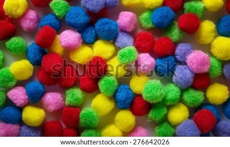 small kids craft pom poms background image - stock photo