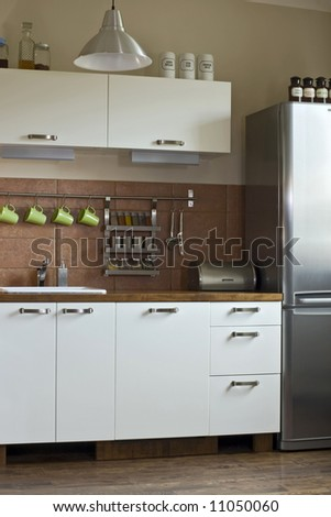 small kitchen in the flat - stock photo