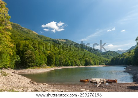 Small lake and mountain in Durmitor national park, Montenegro - stock photo