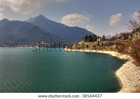 Small lake Idro in the mountains of northern Italy.