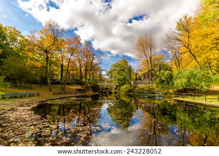 Small Lake with reflection of trees in water, in a Park of Montreal in Autumn and Little Bridge in Background - stock photo