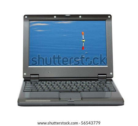small laptop with float on water -  fishing themes